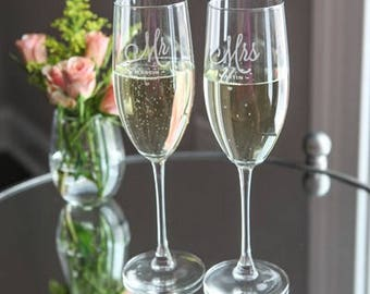 Personalized Champagne Flute with Stem Perfect for Weddings or Anniversaries