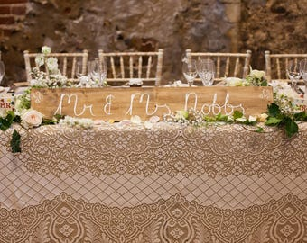 Personalised Wedding Top Table Sign - choose your colours, flowers and wording