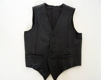 Vintage Mens Leather Vest .
