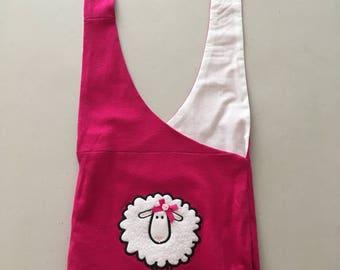 "Handmade Upcycled Pink ""Feeling Sheepy"" Hobo Shoulder Purse"