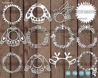 Christmas Monogram SVG Bundle! 12 Blank Circle Wreath Frames | Papercut Template | deer sweater bells holly | New Year | Cricut | Home Decor