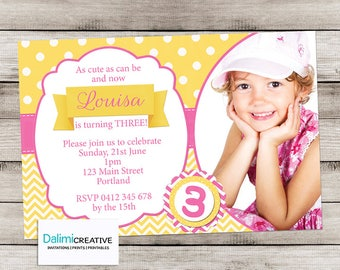 Photo Invitation - Pink and Yellow Printable Birthday Invitations - Pretty Birthday Invitation - 3rd Birthday - Print Yourself Invitation!