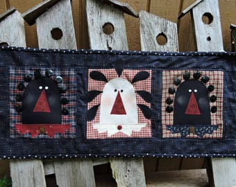 Mini Quilt with Three Primitive Dolls  - Navy and Burgundy