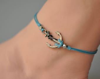 Anchor anklet, Blue dainty wrap anklet with a silver anchor charm, blue ankle bracelet, gift for her, nautical, sailing, minimalist jewelry