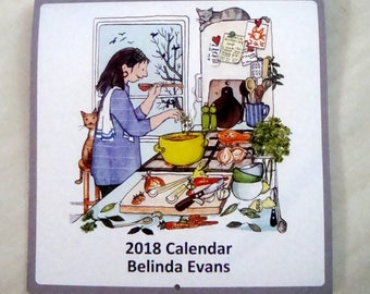 2018 calendar . lovely big calendar with a bright , happy image for each month .