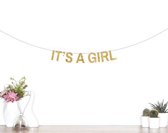It's A Girl Banner, Baby Shower Banner, Baby Girl, Baby Shower Decorations, He or She, Boy or Girl, Gender Reveal Party, Glitter Banner