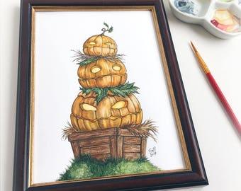 Three Pumpkins - Original Painting