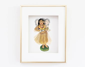 Matted 11x14 Watercolor Dashboard Hula Girl Print
