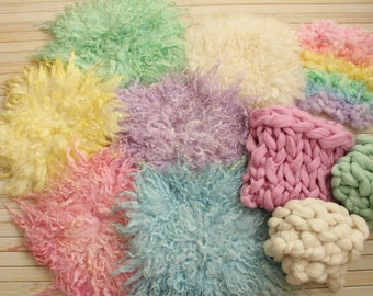 Photography props, Organic props, Newborn photo props, Wool basket stuffers, Coordinated props, Curly felted layers, Pastel props