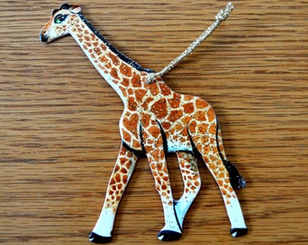 Christmas Giraffe Ornament - Hand Crafted and Painted