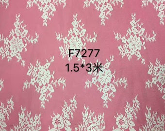 """Floral wedding dress lace ,Chantilly Lace ,eyelash Lace Fabric,flower pattern lace,off  White Chantilly Lace fabric 59"""" width-7277"""