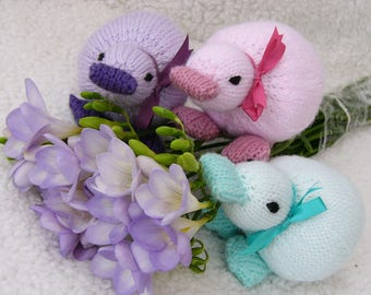 Knitted Duck in pastel shades