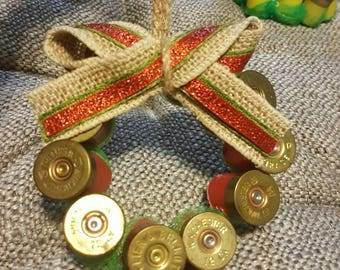 Wreath shotgun shell ornaments