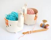 Ceramic Yarn Bowl, Llama Shape. Ceramic Knitting Bowl, Llama Crochet Bowl with orange Blanket. Made To Order