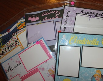 12 x 12 Disney premade scrapbook pages,PICK 1 or more, 1 pg character, Daisy Duck,Donald Duck, Sleeping Beauty, Cinderella,Jasmine Rupunzel