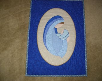 Madonna quilt-Christmas wall quilt-Mother and child quilt-machine appliqued and quilted