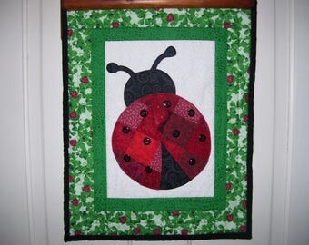 Lady Bug quilt-Garden quilt-machine pieced and appliqued and quilted