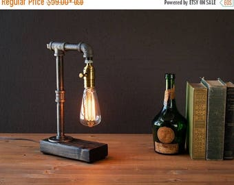 30% OFF SALE Industrial Lighting - Steampunk Lamp - Table Lamp - Edison Light - Vintage Light - Pipe Lamp - Bedside Lamp - Rustic Light - Lo