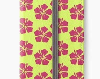 Folio Wallet Case for iPhone 8 Plus, iPhone 8, iPhone 7, iPhone 6 Plus, iPhone SE, iPhone 6, iPhone 5s - Pink Tropical Floral Case