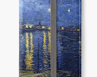Folio Wallet Case for iPhone 8 Plus, iPhone 8, iPhone 7, iPhone 6 Plus, iPhone SE, iPhone 6, iPhone 5s Starry Night Over The Rhone Van Gogh