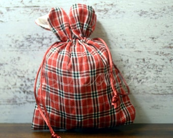Red plaid top woven fabric bag 5x7 inch set of 3