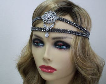 Flapper headpiece, Rhinestone 1920s headband, Gatsby headpiece, Bollywood, Forehead headband, Belly dance, 1920s hair accessory, Roaring 20s