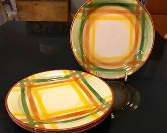 Vintage Metlox VernonWare Homespun Lunch Plates - Set of 4