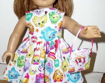 """New Handmade Colorful Shopkins Dress with Headband and Purse Fits 18"""" American Girl Dolls"""