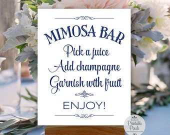 Printable Mimosa Bar Sign, Navy Blue Lettering, Brunch, Wedding, Party, Shower (#MS12N)