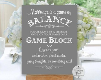 Marriage Game of Balance Sign, Grey Background, Printable, Wedding, Blocks Sign, Guest Book Alternative, Tower Game (#BL12Y)