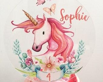Unicorn cake topper - Personalised acrylic unicorn horn custom Name Cake Topper cake decoration Unicorn Topper Decorations Birthday