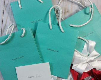 Set of 4 Recycled Tiffany Bags for use in Mixed-media art projects, as paper for collage, etc.