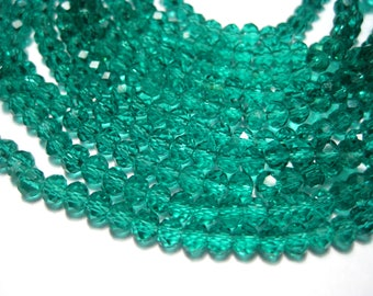 1 Strand Sea Green Faceted Transparent Glass Bead 4mm Rondelle ( No. 04A)
