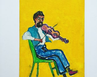 """Original Art: """"A Slave Violinist"""" 5x7 inches Mixed Media on Canvas Panel"""
