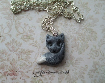 pretty polymer clay Fox necklace