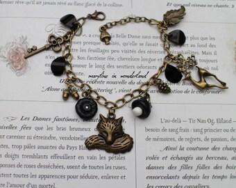 charm bracelet bronze and black Fox charm