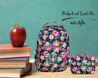 monogrammed back pack, monogrammed lunch box, personalized backpack, monogrammed floral backpack, monogrammed lunch tote