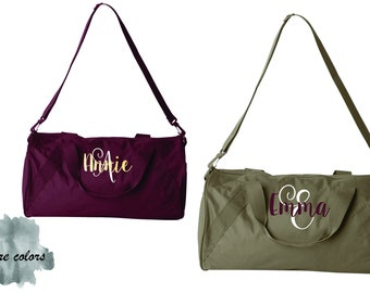 set of 7 Bridesmaid gift, personalized duffle bag, monogrammed bag, travel bag, duffel bag,