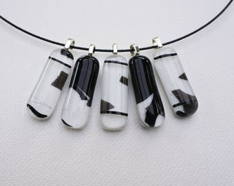 White and black fused glass pendant