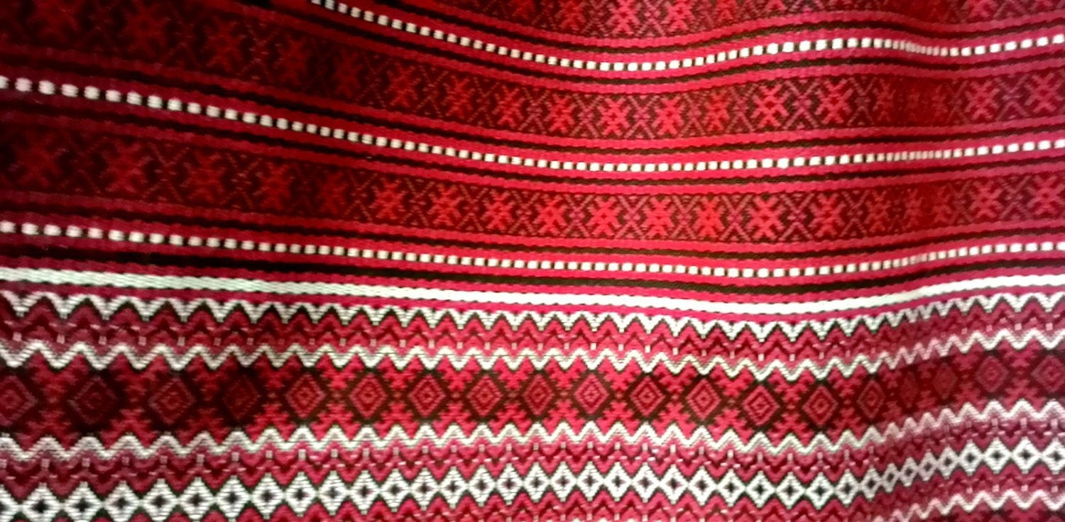 ethnic fabric embroidered fabric red table runner ukrainian fabric