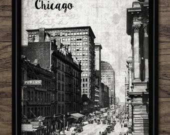 Vintage Chicago Art Print - Chicago Cityscape - Chicago Street Scene - Chicago Illinois United States #2500 - INSTANT DOWNLOAD