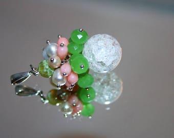 Pendant pearls, coral, swarovski crystals
