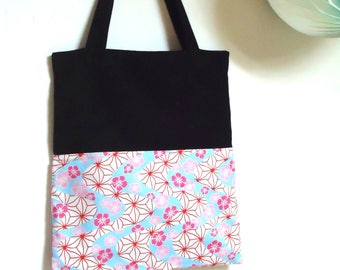 Linen and black cotton tote bag with Japanese