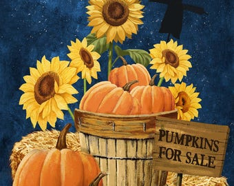 "Pumpkins for Sale Fabric Panel 21668-49; Northcott; Halloween, Pumpkins, Sunflowers, Harvest, Fall, Autumn; 23"" panel"