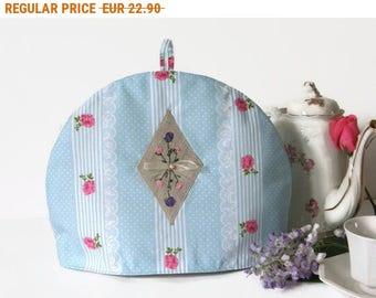 Summer Sale , Fabric Tea Cosy- Teapot Cozy- Linen Tea Cozy- Pink and Grey Tea Cosy