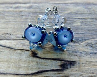 Turquoise & blue lampwork glass sterling silver earrings