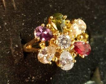 Multi Topaz Gemstones Gold Plated Ring