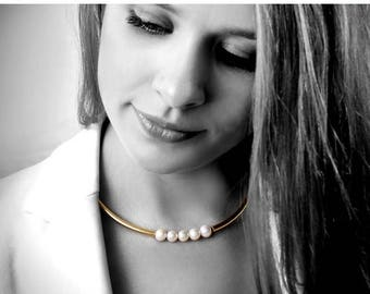 SUMMER SALE - Pearl necklace,bridal necklace,wedding necklace,tube necklace,pearl jewelry,gold necklace,choker necklace
