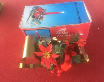 Vintage Brass Sleigh Christmas Holiday Candle Holder Hong Kong
