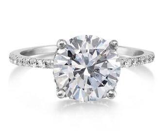 Moissanite Engagement Ring 8MM Round Forever One Moissanite Ring .24ct Pave Natural Diamonds Hidden Halo Ring 18k Gold Pristine Custom Rings